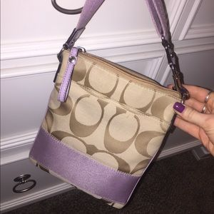 REAL COACH PURSE — tan crossbody with lavender 💜